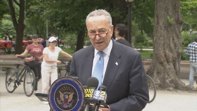 Sen. Chuck Schumer during a press conference at Central Park on Sunday