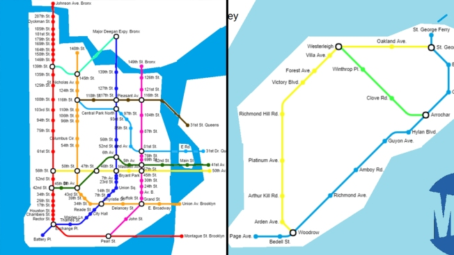 Queens And Manhatan Subway Map.Redditor Refreshes Nyc Subway Map With Subway Restaurants As Stops