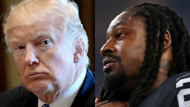 Marshawn Lynch Sports 'Everybody vs Trump' T-Shirt Before Raiders-Broncos Game