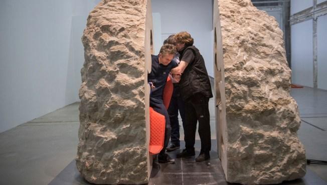 Solid as a Rock: Artist Emerges After Week Inside a Boulder