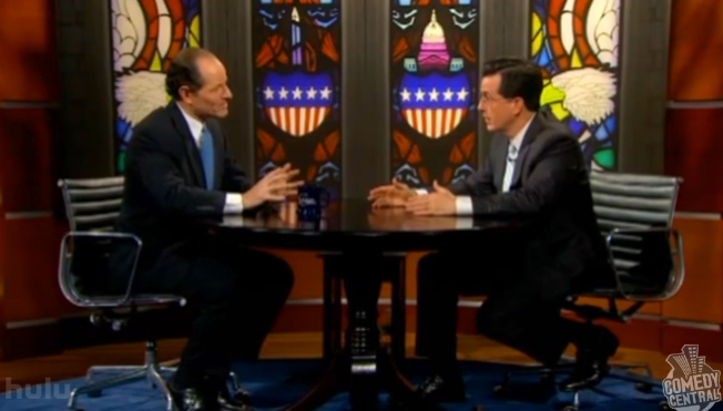 Spitzer Talks Wall Street, Dodges Re-election Questions on Colbert Report