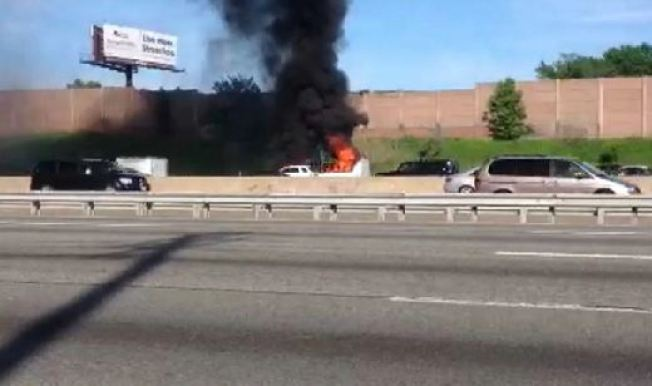 Bus Fire Closes Part of New Jersey Turnpike