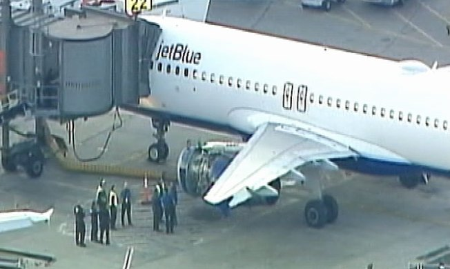 Engine Cover Falls Off Jet Blue Plane Departing Newark