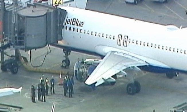 Engine Cover Falls Off Jet Blue Plane Departing Newark