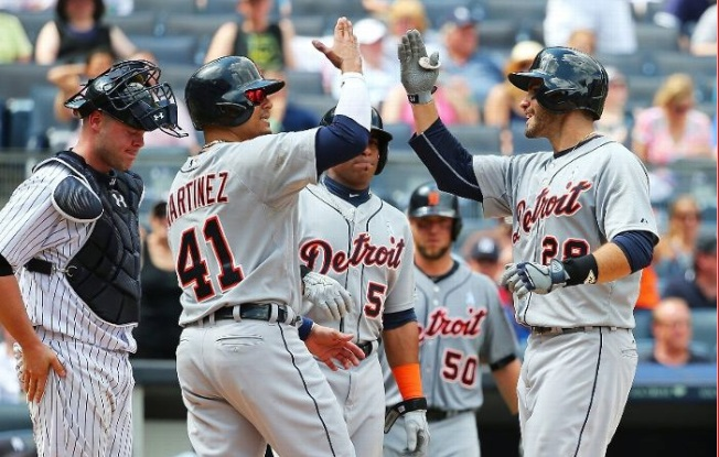 Tigers Trounce Yanks on Martinez's 3 HRs