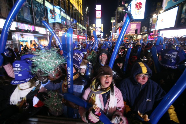Frozen Times Square Revelers Ring in 2009