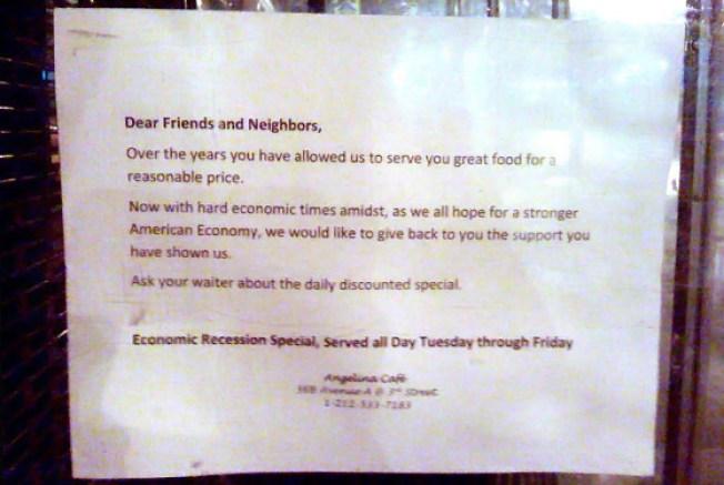 Angelina Café's Daily Recession Special