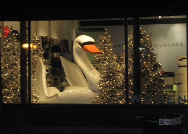The Holiday Windows Begin With Marc's Big Swan
