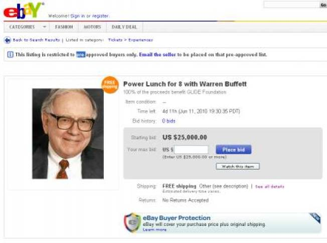 Wine and Dine With Warren Buffett For a Cool $25K