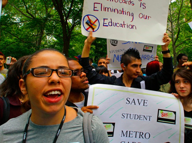 Students Rally At City Hall to Protest Free MetroCard Cuts