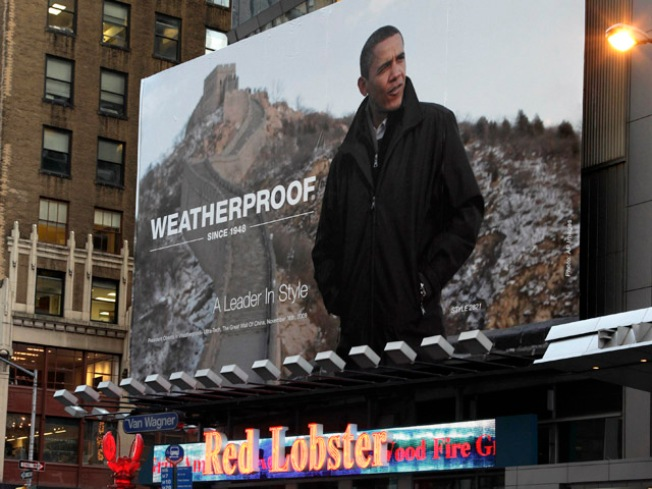 President Obama Turned Pitchman in Times Square