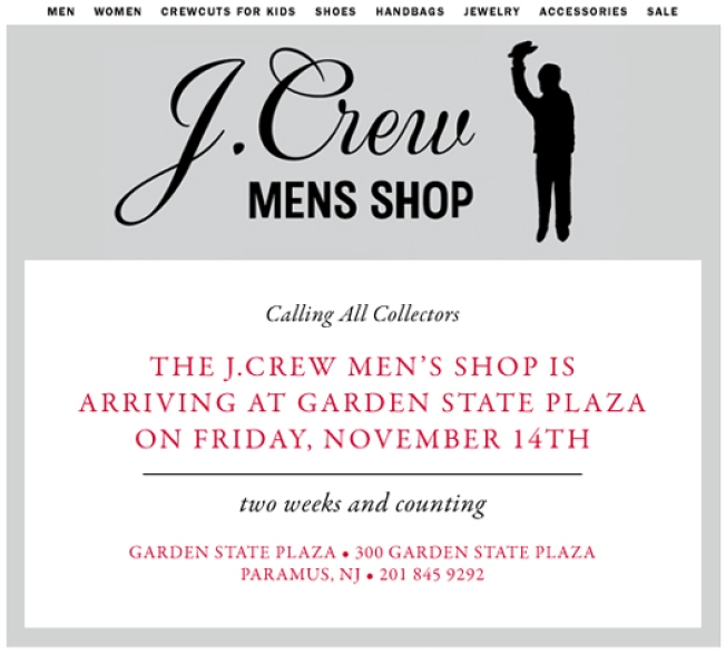 Tribeca's J.Crew Men's Store to Get Preppy Bro in Paramus, NJ
