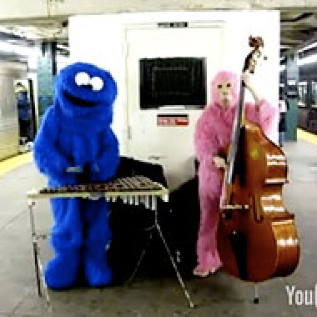 Dudes Dressed As Muppets Play Xylophone in Our Subways