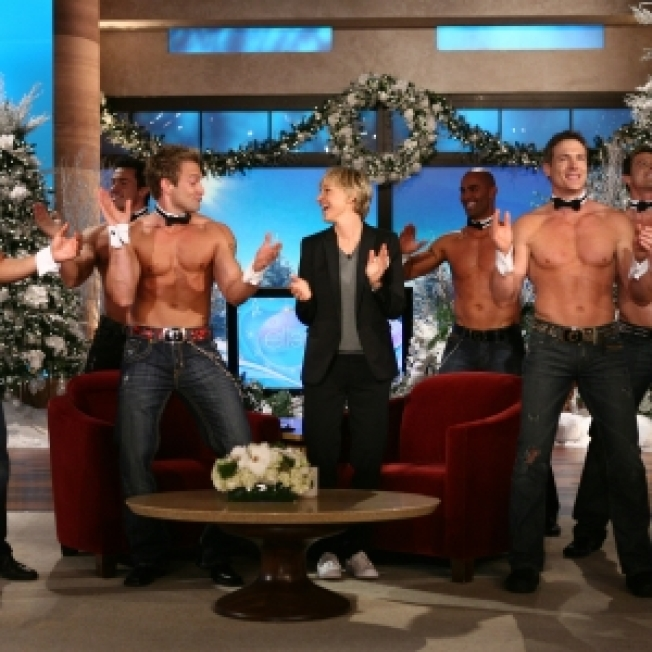 Ellen Tries To Court Clooney With Chippendales Dancers