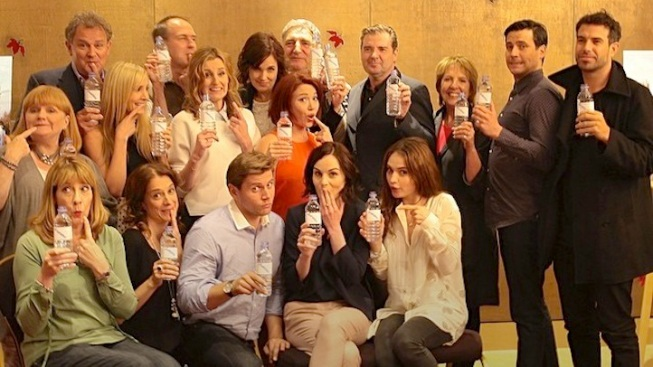 """""""Downton Abbey"""" Cast Pokes Fun at """"Water Bottle-Gate"""" for Charity"""