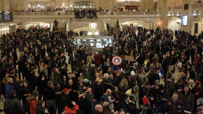 Occupy Protesters Rally in Grand Central Terminal