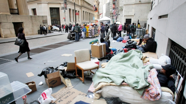 Occupy Protesters Sleep-Out on Wall Street