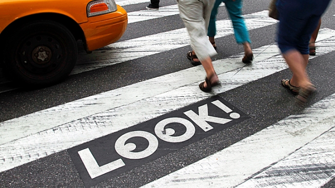 NYC Crosswalks Urge Pedestrians to LOOK!