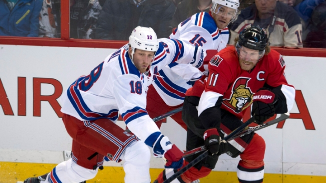Rangers Topped by Senators 3-2 in Shootout