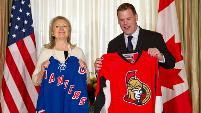 Clinton, Canadian Minister Bet on Rangers-Senators