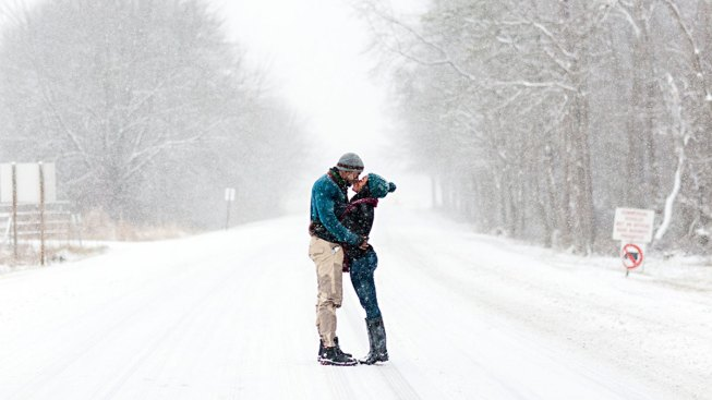 Couple Braves Blizzard for Stunning Engagement Shoot
