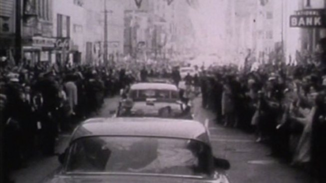 JFK's Motorcade Winds Through Dallas