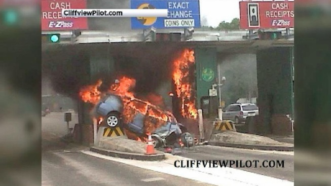Car Hits NJ Parkway Toll Plaza, Bursts Into Flames