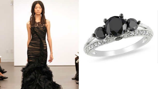 Trend Watch: Black Wedding Dresses, Black Diamonds on the Rise