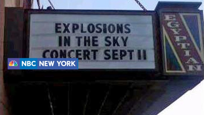 "Sign Advertises ""Explosions in the Sky"" on ""Sept. 11"""