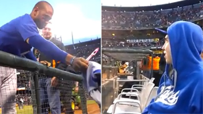 Dodgers' Matt Kemp Gives Fan the Jersey off His Back