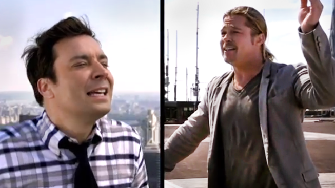 "Pitt Challenges Fallon To ""Double Yodel"" From NYC Roof"