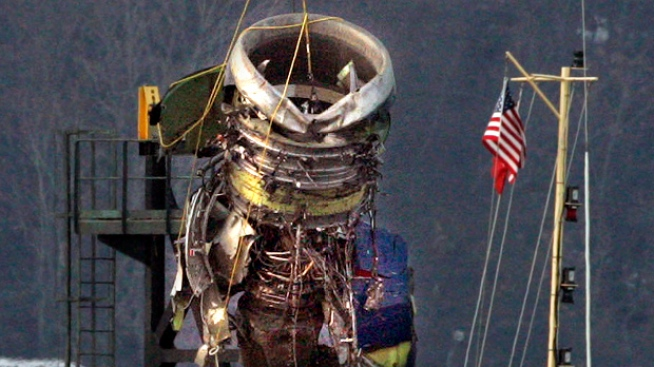 Plane Engine Hoisted From Hudson River