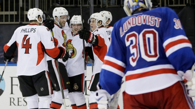 Rangers Beaten by Senators 3-2