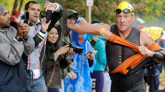 Lance Armstrong Competes in Triathlon in Maryland