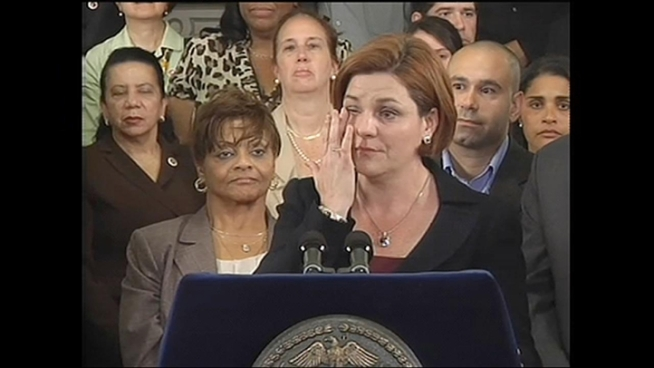 Christine Quinn had tears in her eyes as she hugged colleagues.