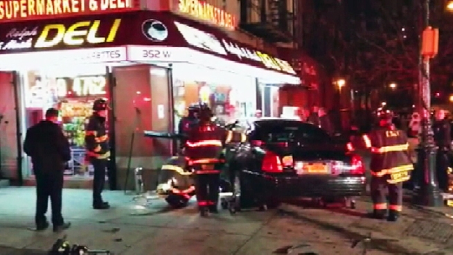 A livery cab crashed into a deli in Morningside Heights just after midnight Wednesday, and two drivers were taken to the hospital, police said.