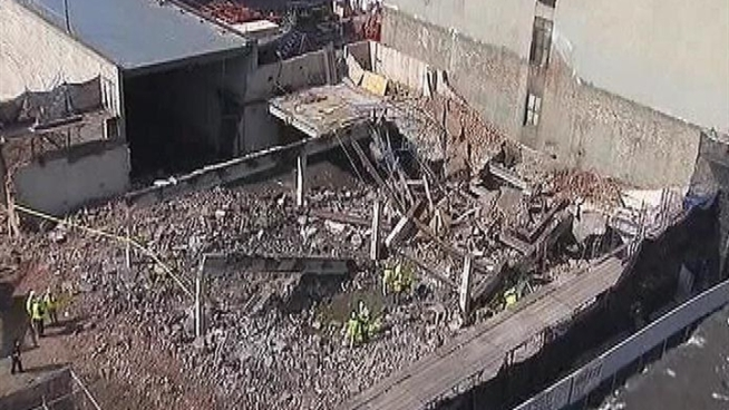 One construction worker was killed and two were hospitalized after a collapse sent concrete slabs and bricks falling onto them at a work site on 130th Street, as crews were making way for the Columbia University expansion. Gus Rosendale reports.