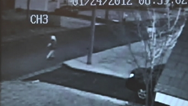 This surveillance video shows a 13-year-old girl running after a stranger allegedly tried to grab her as she walked to her bus stop on Long Island.