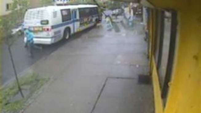 Police are looking for the person seen in this video fleeing an MTA bus after a shooting.