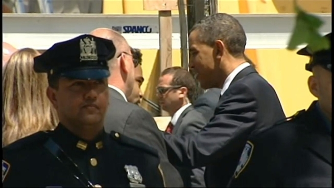 President Obama tours the World Trade Center site and meets with the families of 9/11 victims, four days after a special operation in Pakistan killed al Qaida leader Osama bin Laden.