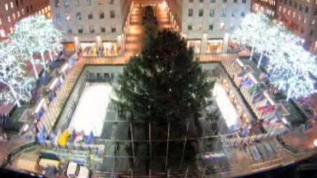 Check out this awesome time-lapse video of the Rockefeller Center Christmas tree arriving in the plaza and being hoisted onto its pedestal as workers prep it for its big night. The lighting ceremony is tonight on NBC.
