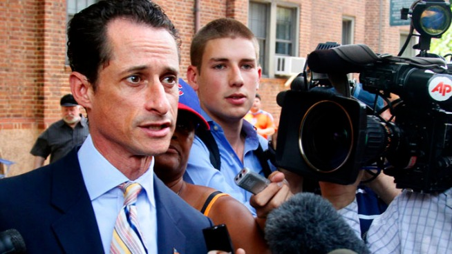 Representative Anthony Weiner announces his resignation from Congress. *Warning: A heckler uses inappropriate language during this press conference.