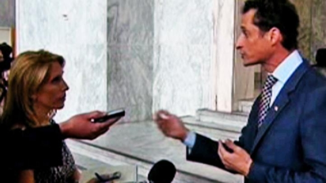 Rep. Anthony Weiner gets a little, ahem, testy, when asked follow-up questions about a lewd photo sent from his Twitter account by reporters.