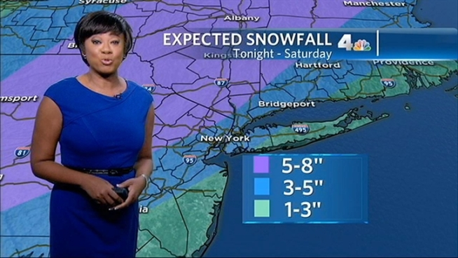 Expect 3 to 6 inches in the city and 5 to 8 inches north and west of New York City.