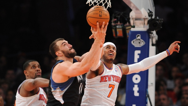 Anthony's Big Finish Rallies Knicks Past Wolves 94-91