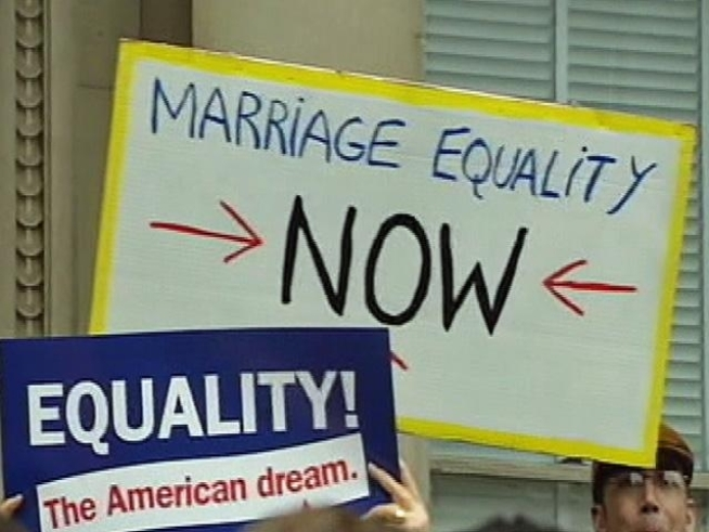 New Jerseyans want gay marriage now -- and they have signs to show it.