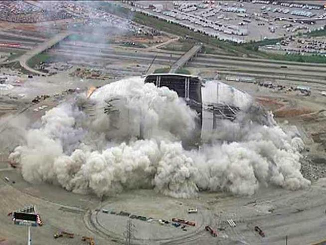 Chopper 5 gives a bird's eye view of the implosion of Texas Stadium.