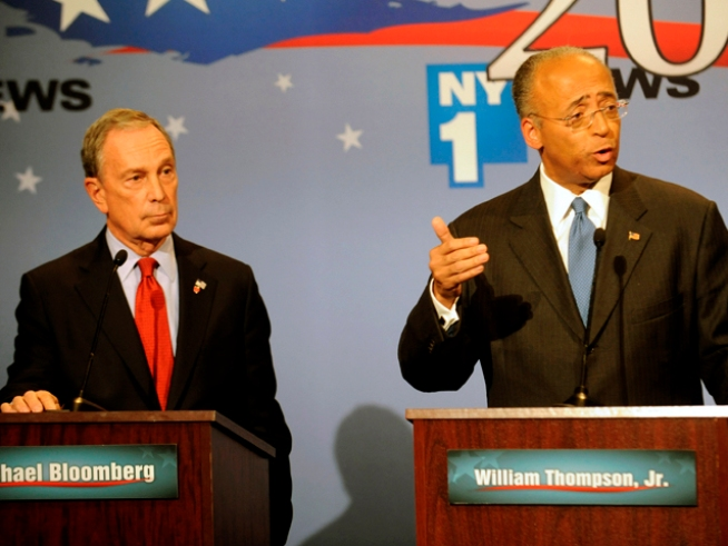 Thompson Vs. Bloomberg: No Knockout, But a Good Bout
