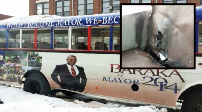 Police Pursue Suspect in Burning of Newark Mayoral Campaign Bus