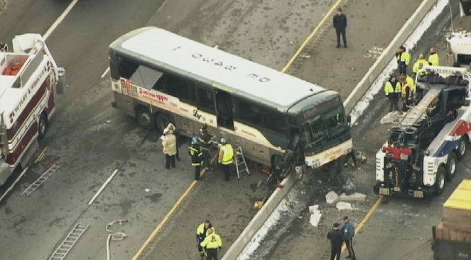 Bus Crashes, Gets Stuck on Median of New Jersey Highway